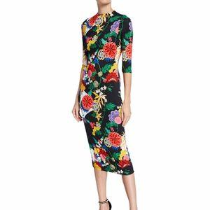 Alice + Olivia Delora  Floral Fitted Sheath Midi